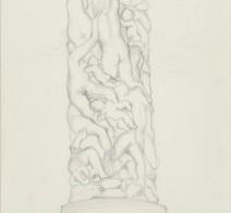 Sketch from Gustav Vigeland park, Oslo, Silverpoint on boneash primed paper, 2016
